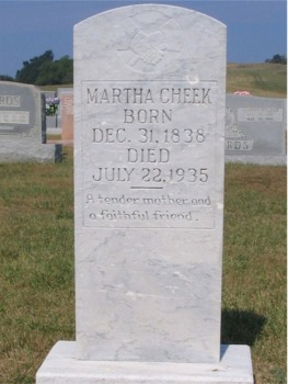 Martha Jennings Cheek Gravestone