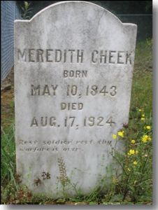Gravestone of Meredith Cheek