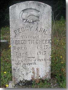 Gravestone of Peggy Ann Reeves Cheek