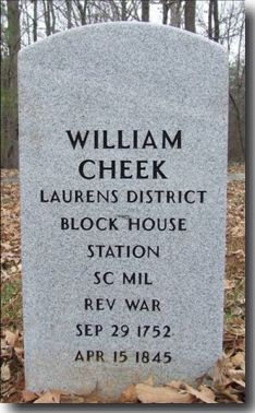 Gravestone of William Cheek