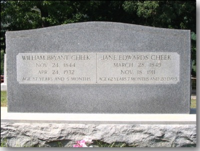 William B. Cheek and Jane Edwards Cheek Gravestone