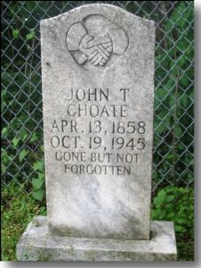 Gravestone of John T. Choate