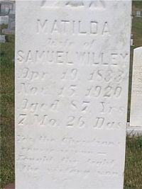 Matilda Wagoner Willey gravestone