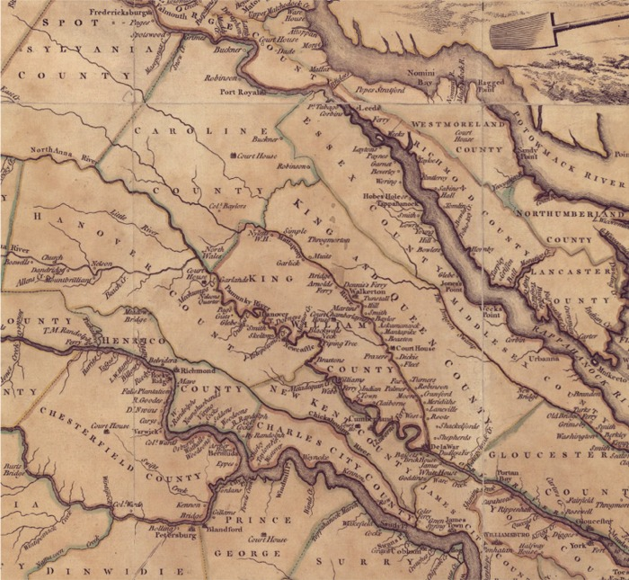 1770 Map of Tidewater, VA, Region