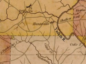 1833 Map of Surry/Yakdin Co., NC